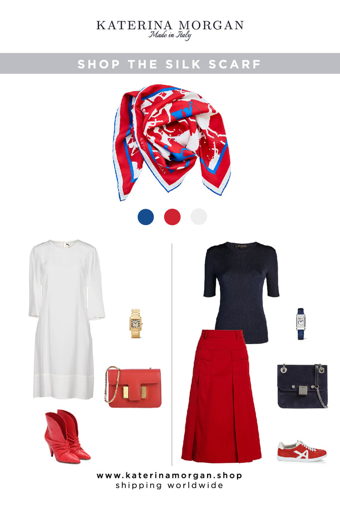Red silk scarf with white and navy outfits