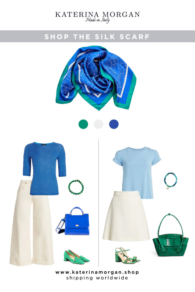 White jeans or mini skirt with cobalt blue silk scarf