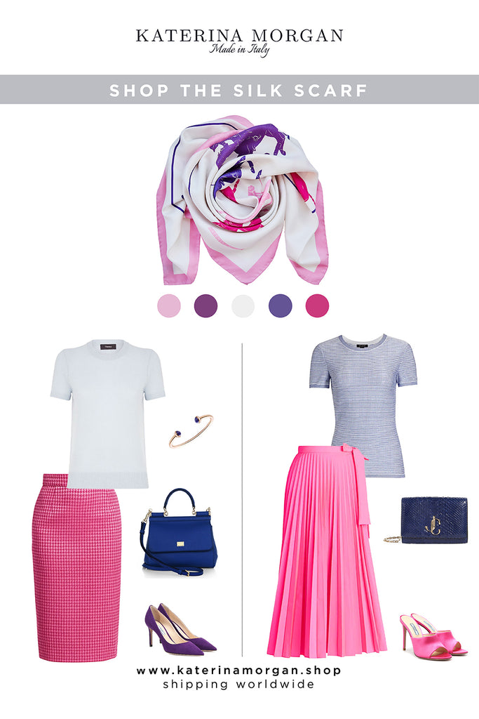 Elegant pink and blue outfit with silk scarf