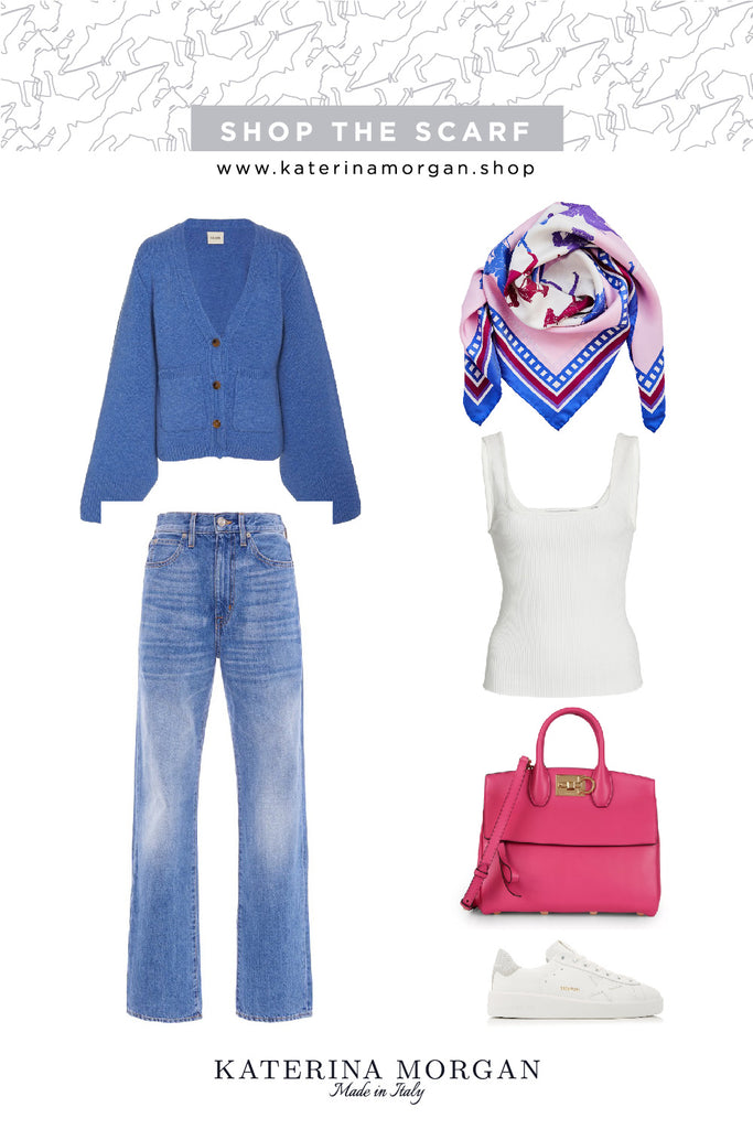 Weekend chic with silk scarf