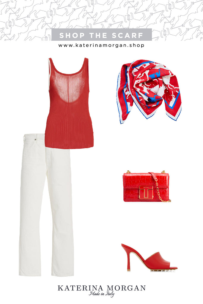 Red and white summer outfit