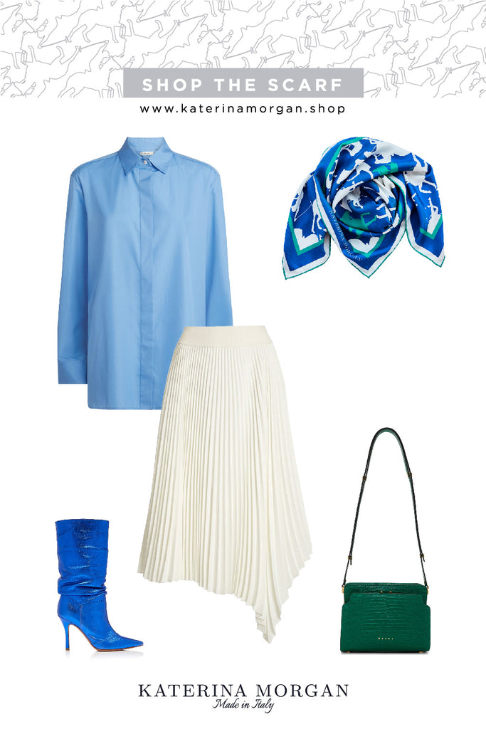 Blue outfit with silk scarf