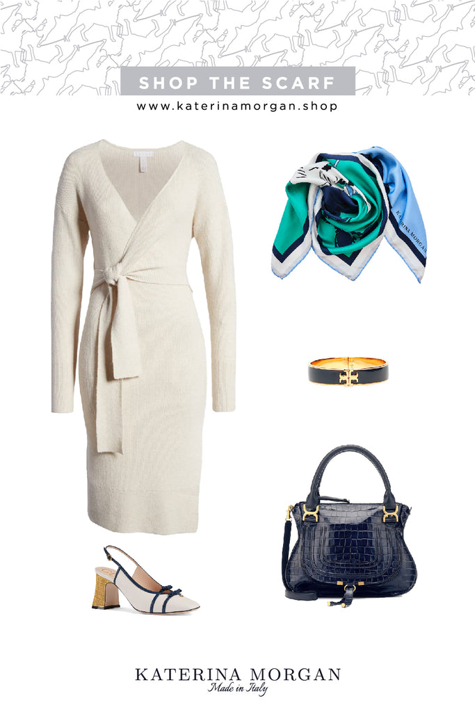 Feminine dress with blue and green accessories