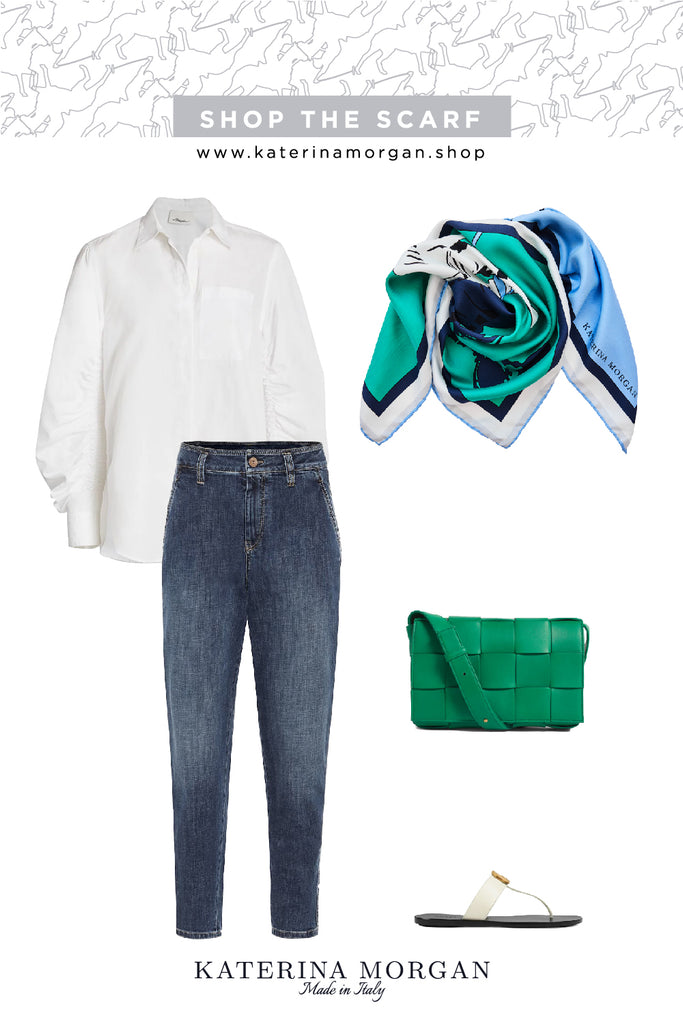 Denim and green accessories