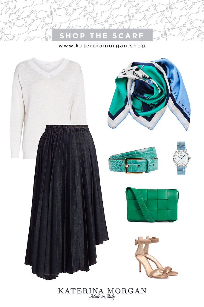 Trendy A-line pleated skirt with green accessories
