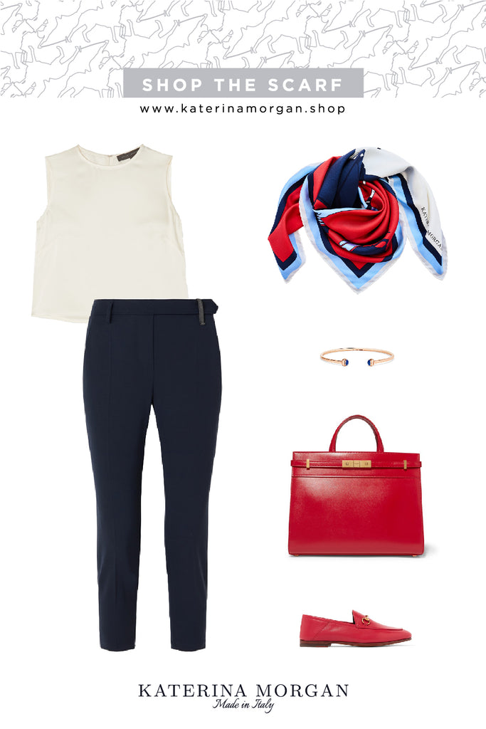 Office stylish outfit with red and navy polo design silk scarf