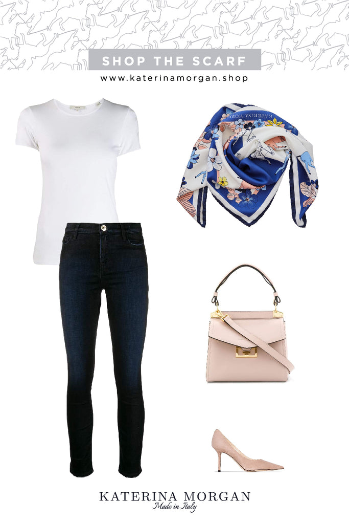 Timeless combination with floral silk scarf