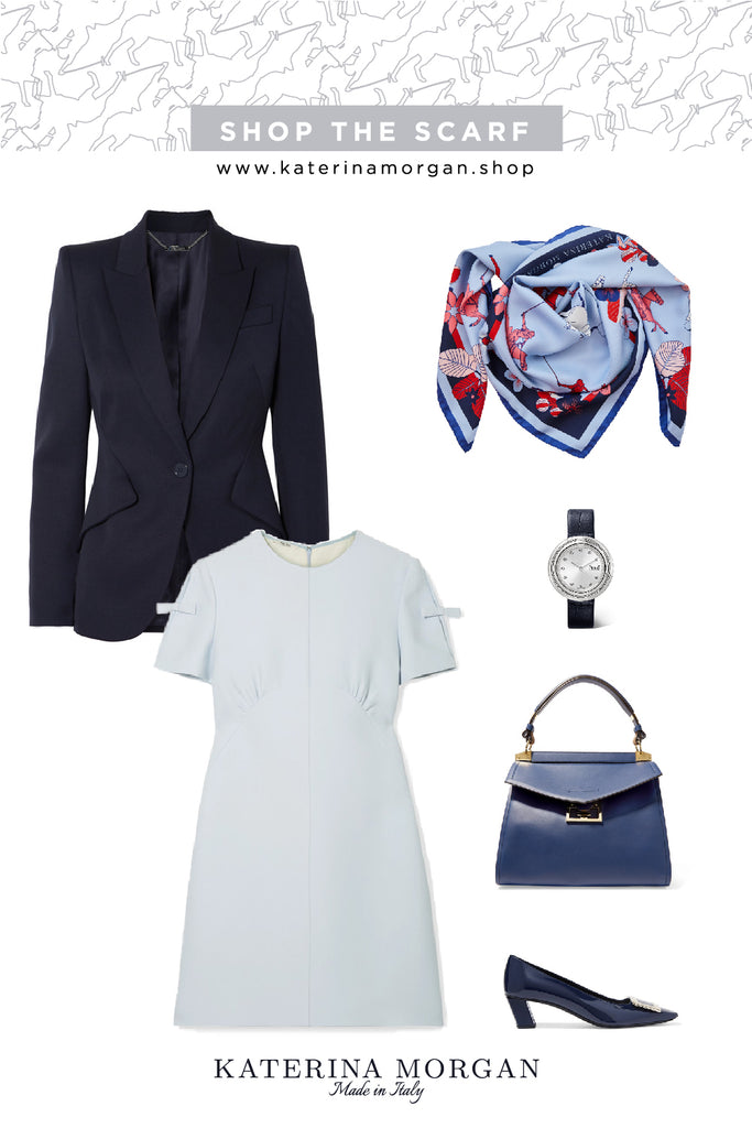 Blue tone office outfit with red silk scarf