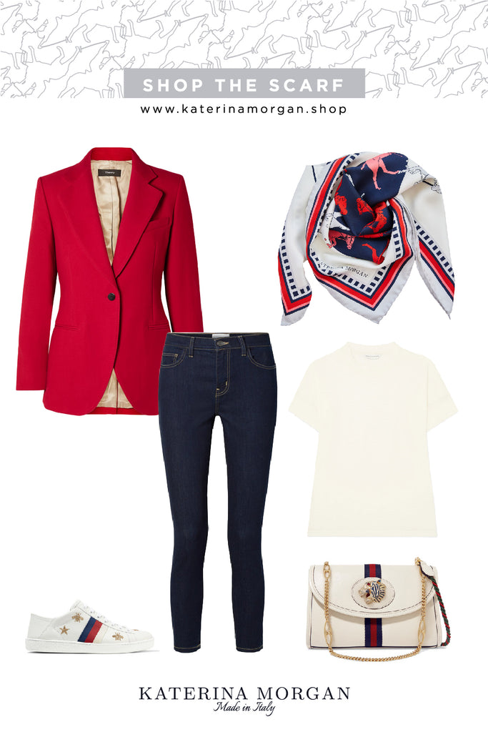 Red and navy everyday chic outfit