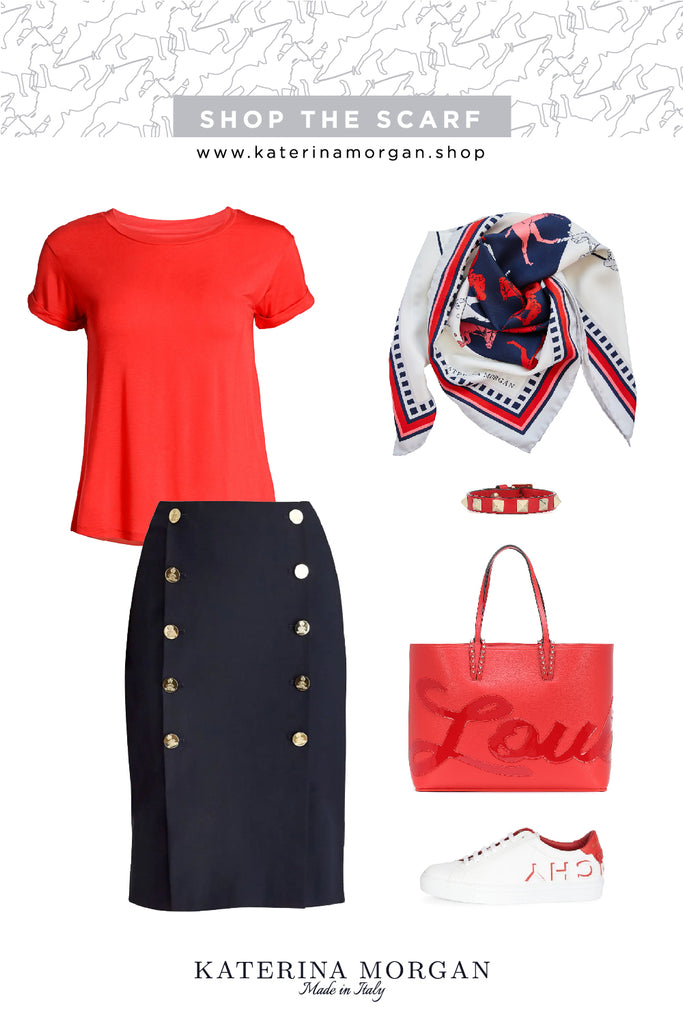 Navy and red outfit with horse themed silk scarf