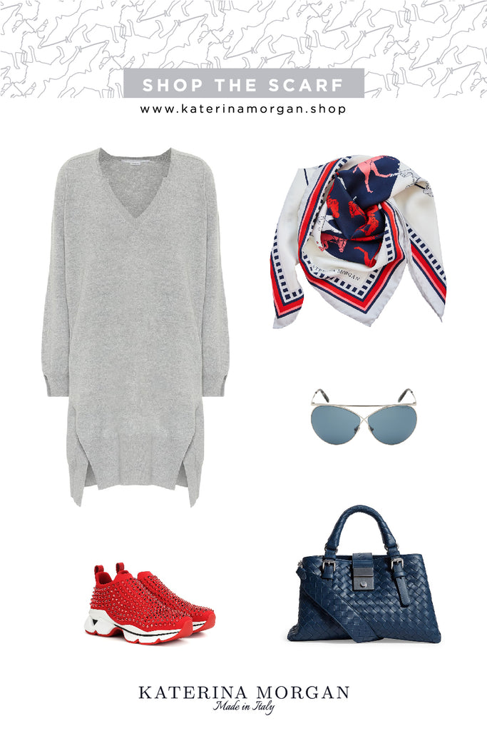 Elegant fun outfit with red and navy silk scarf