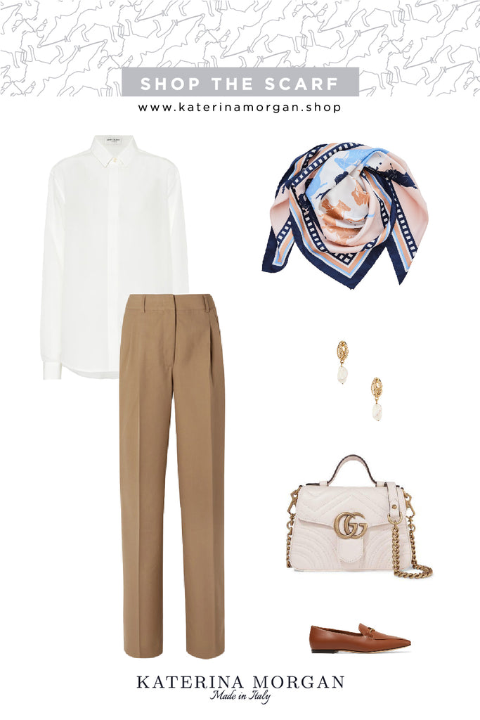 Beige and white autumn outfit with equestrian theme silk scarf
