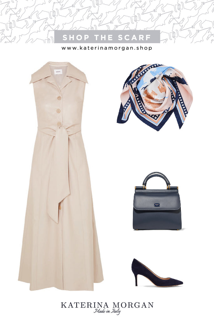 Classic summer style with blue and beige silk scarf