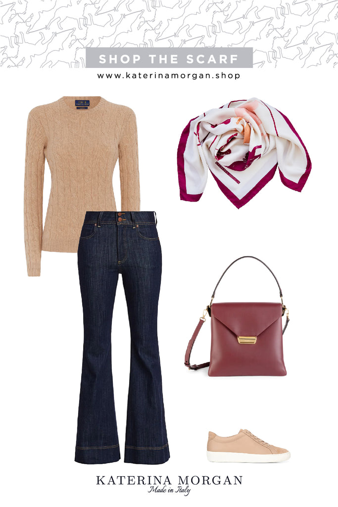 Casual autumn denim outfit with burgundy silk scarf