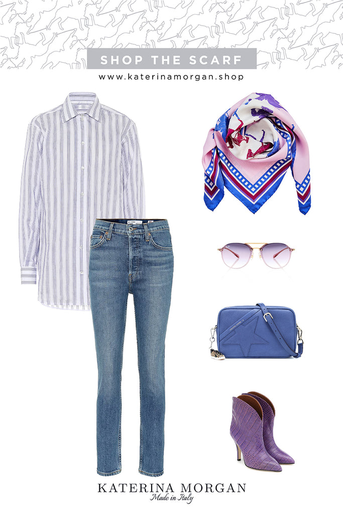 Denim and purple outfit