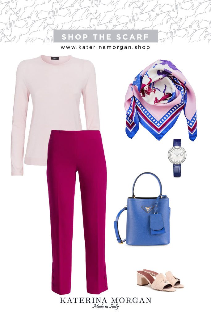 Femenine pink outfit with polo silk scarf
