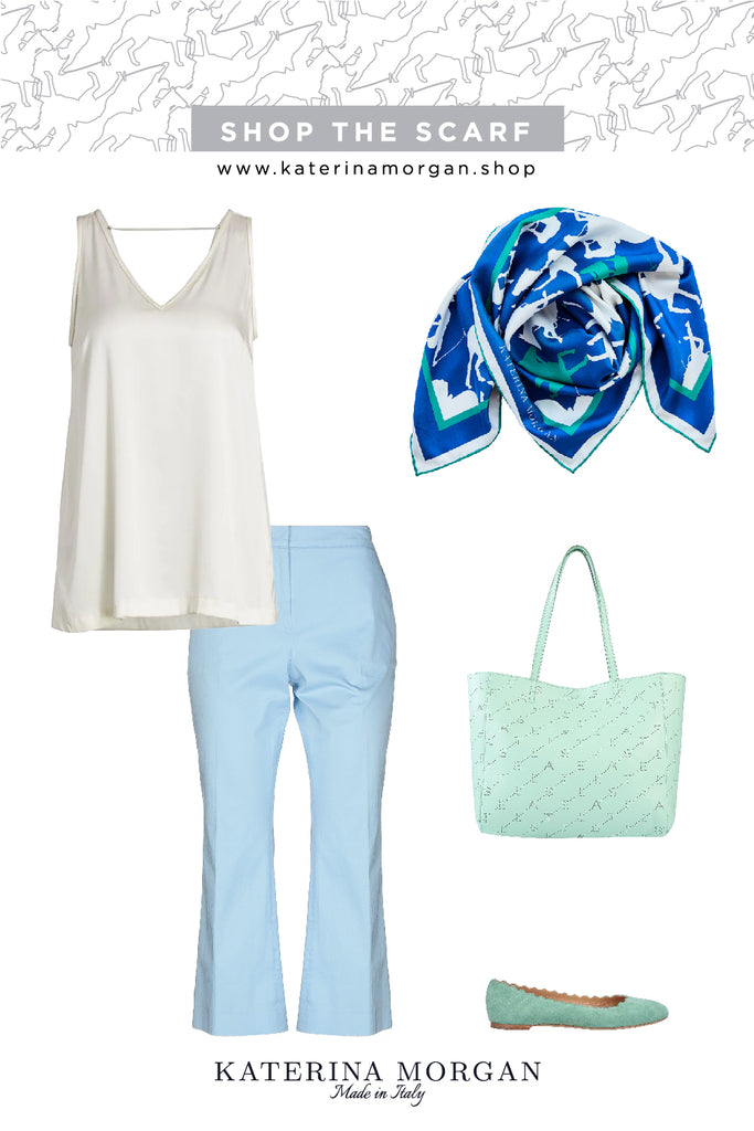 Pastel colors outfit with blue and green horse print scarf