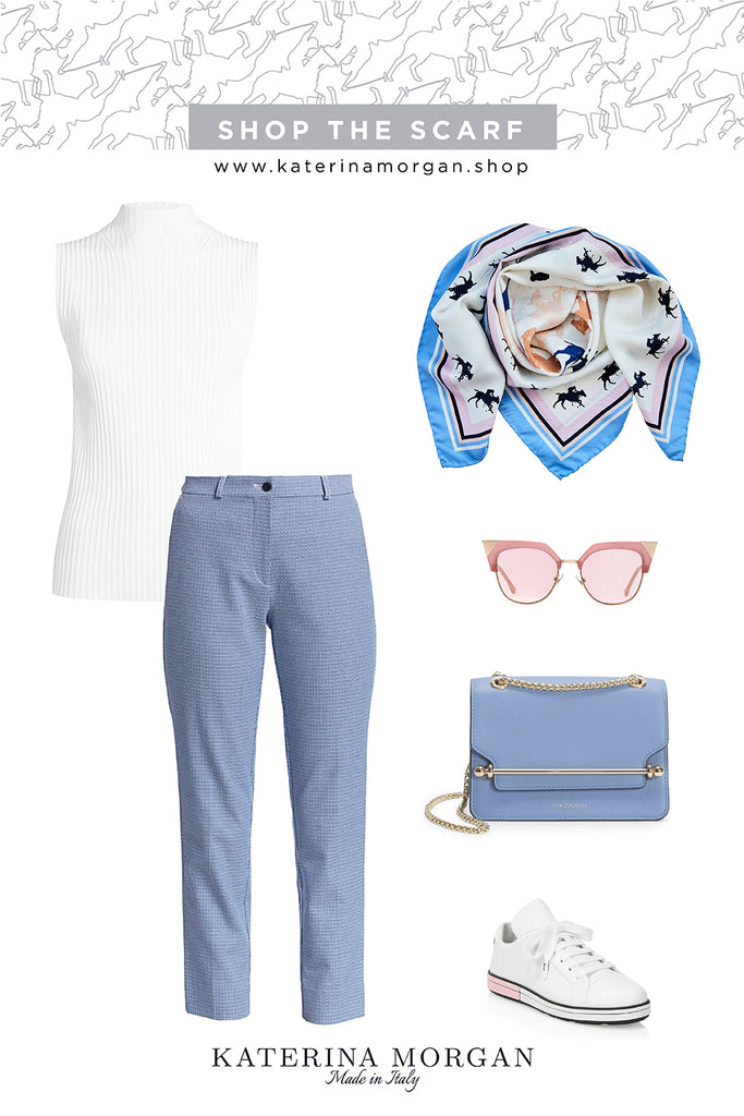Weekend look with light blue horse printed silk scarf