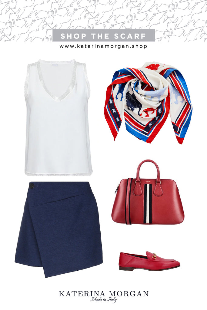 Sport mini outfit with red, white and blue silk scarf