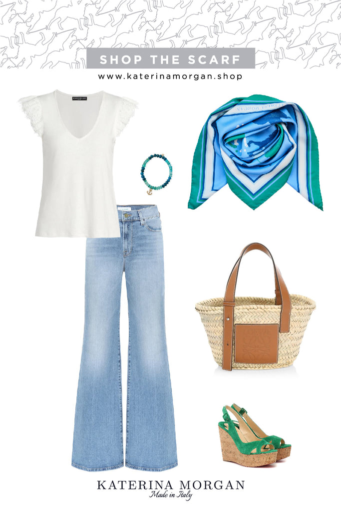 70s mood outfit with horse themed blue and green scarf