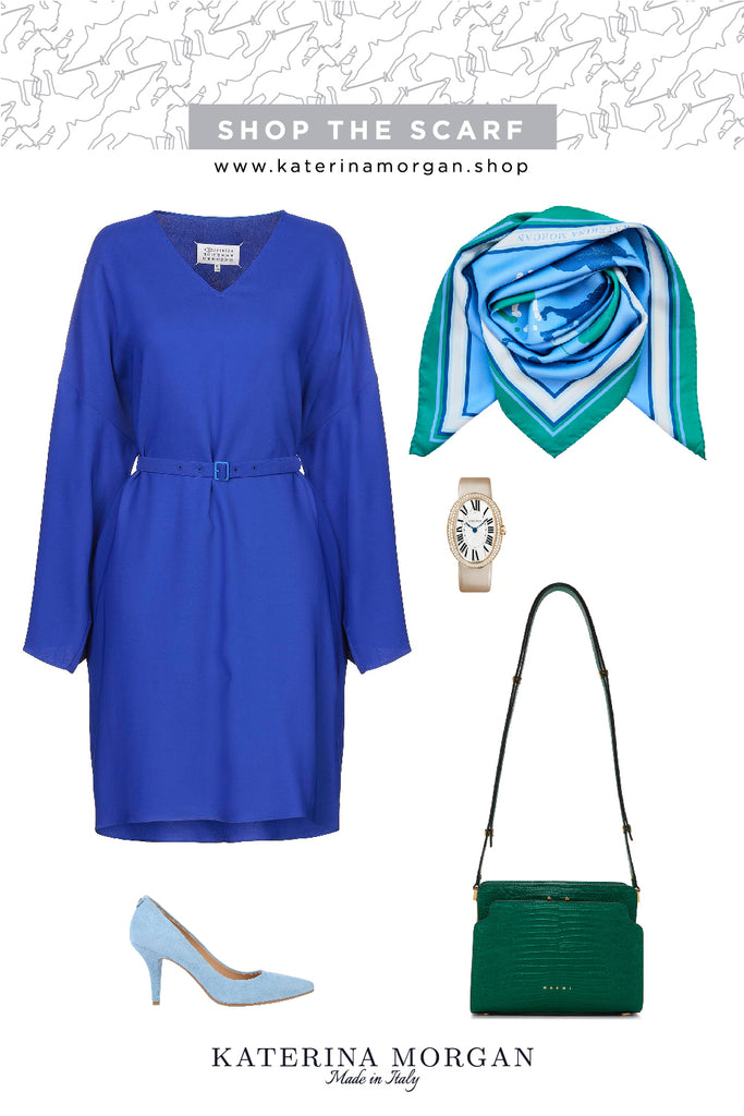 Cobalt blue trendy dress with light blue polo silk scarf