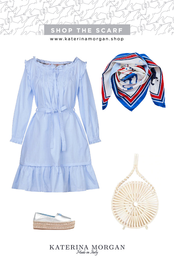 Summer chic dress with red, white and blue silk scarf