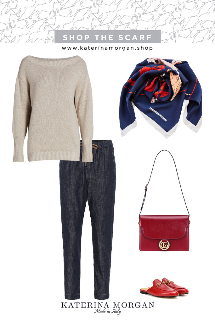 Casual jeans and sweater outfit with navy silk scarf