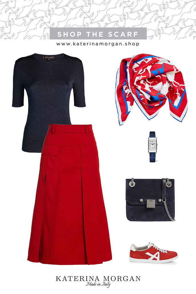 Red and navy outfit with printed silk scarf