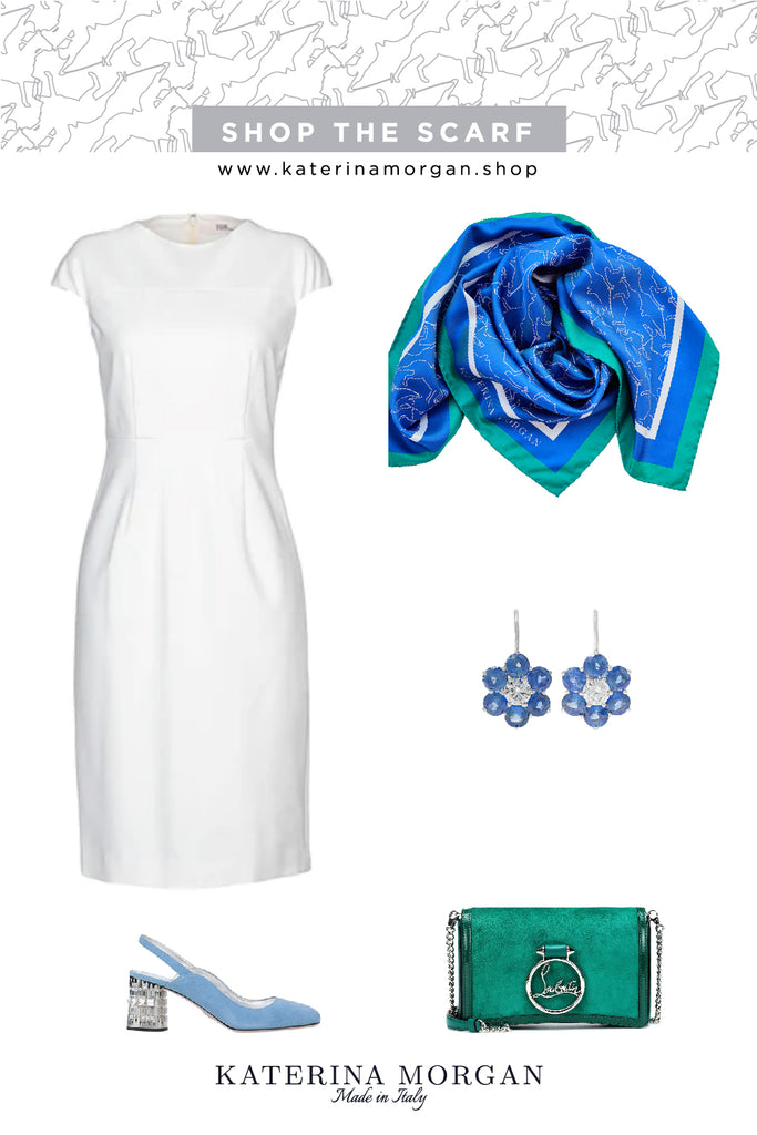 White shift dress outfit with horse polo scarf