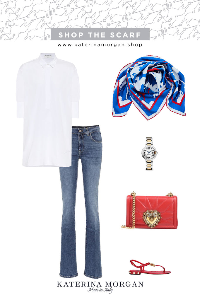 Casual elegant jeans + blue and red polo silk scarf