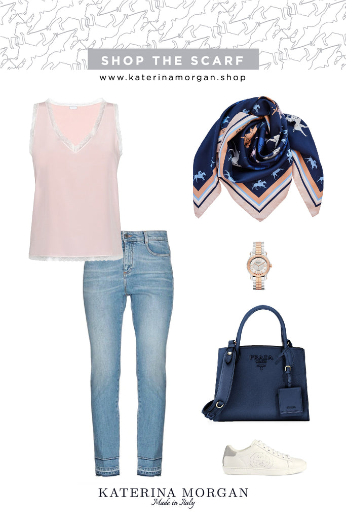 Every day denim outfit with navy polo silk scarf