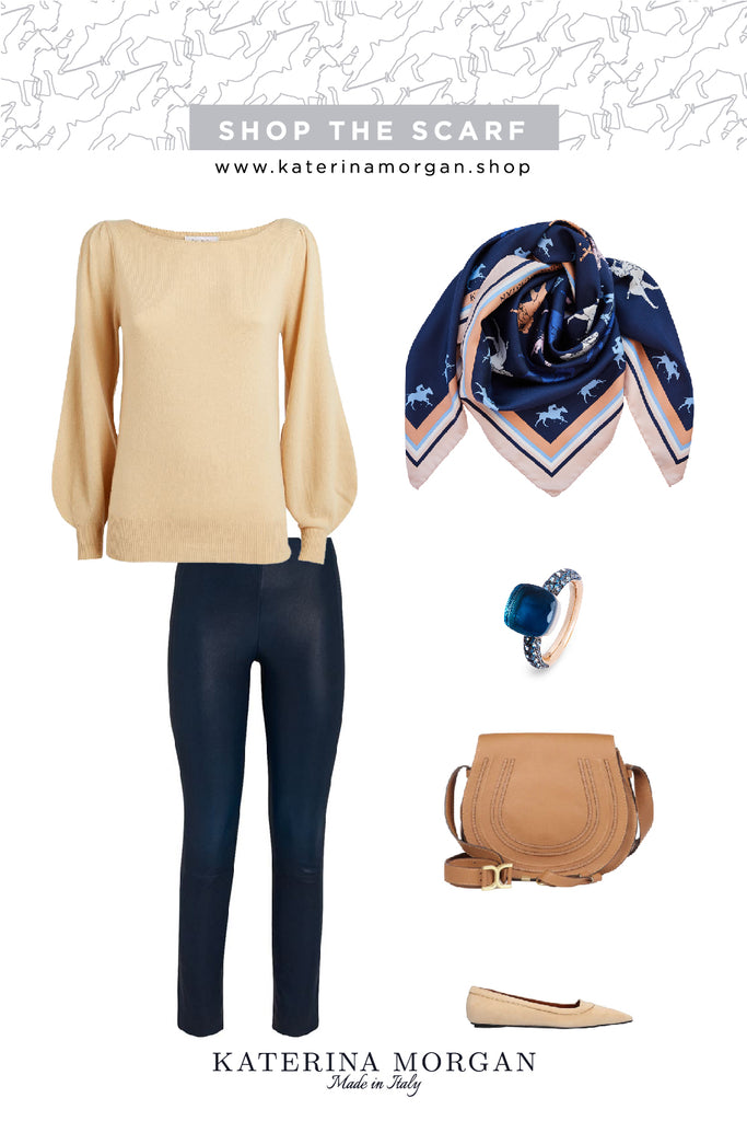 Leggings and jumper autumn outfit with silk scarf