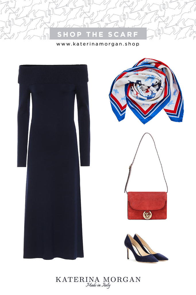 Off-the-shoulder dress and square silk scarf