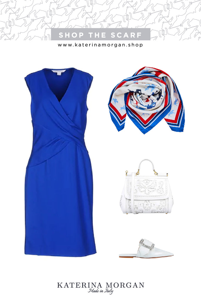 Color of the season outfit with blue, red and white twilly scarf