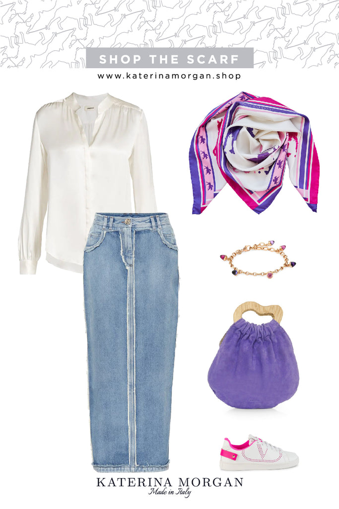 Denim skirt and colorful accessories