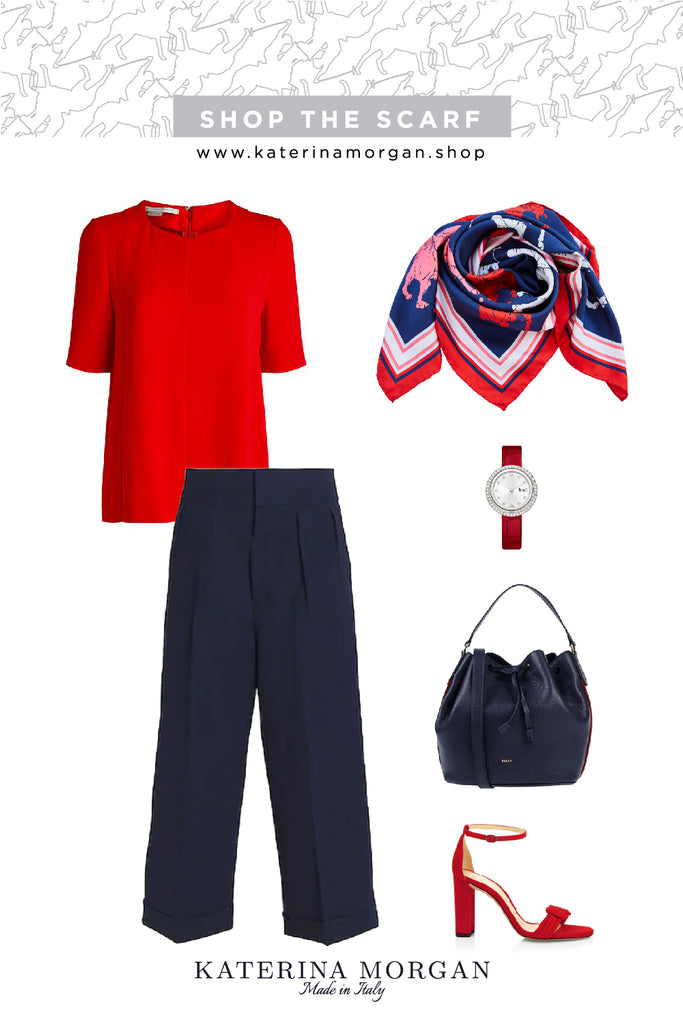 Red and navy blue chic outfit