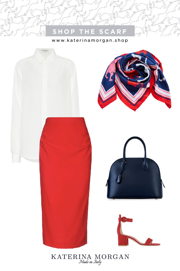 Pencil skirt and patterned silk scarf
