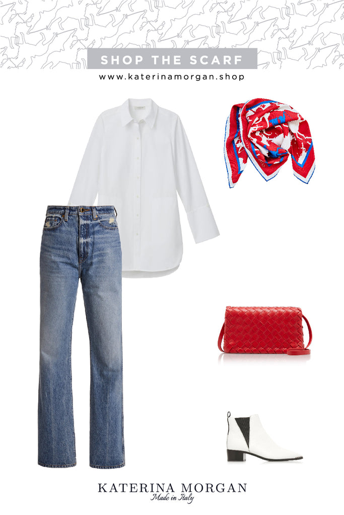 Classic white t-shirt with red accessories