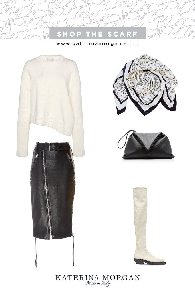 Black and white winter outfit with silk scarf