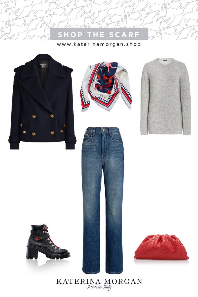 navy and denim winter outfit with polo silk scarf