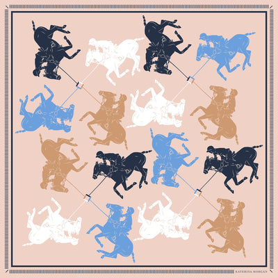 Beige, white and blue horse polo design silk scarf for women