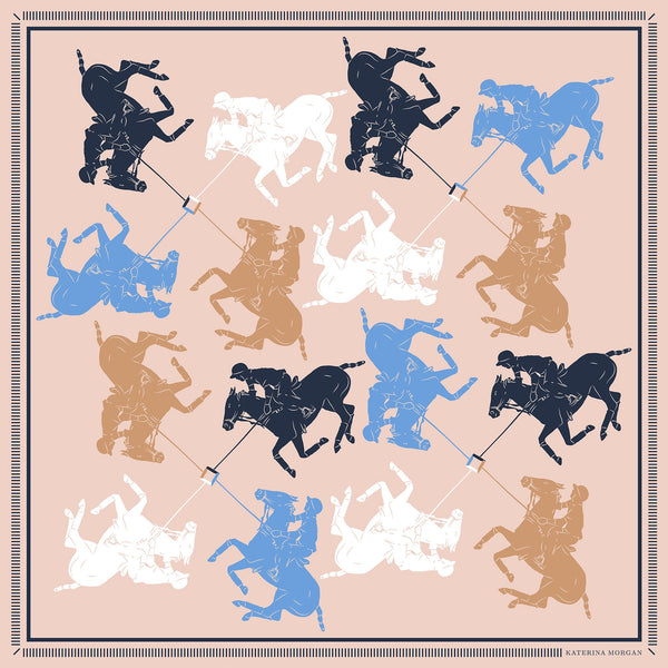 Beige and navy horse polo silk scarf