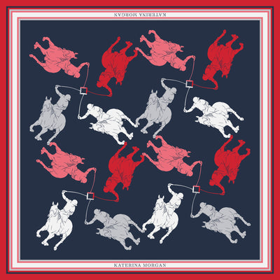 Classy navy blue and red horse polo design silk scarf