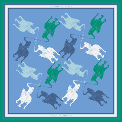 Horse polo theme light blue and green silk scarf