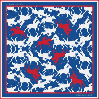 Womens silk scarf with horse polo design