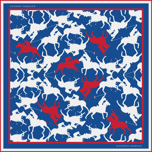 BLUE AND RED HORSE POLO SILK SCARF