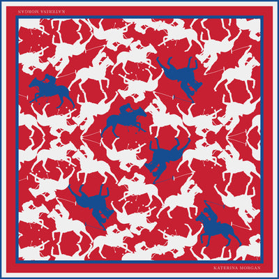 Square silk scarf for women with horse polo print
