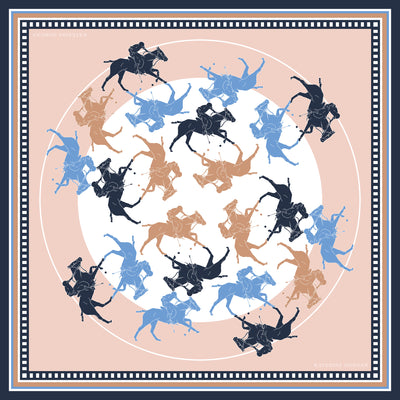 Designer beige and navy blue scarves for women with horse polo theme