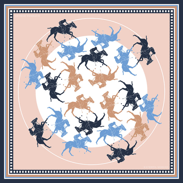 Stick and ball horse polo silk scarf beige and navy