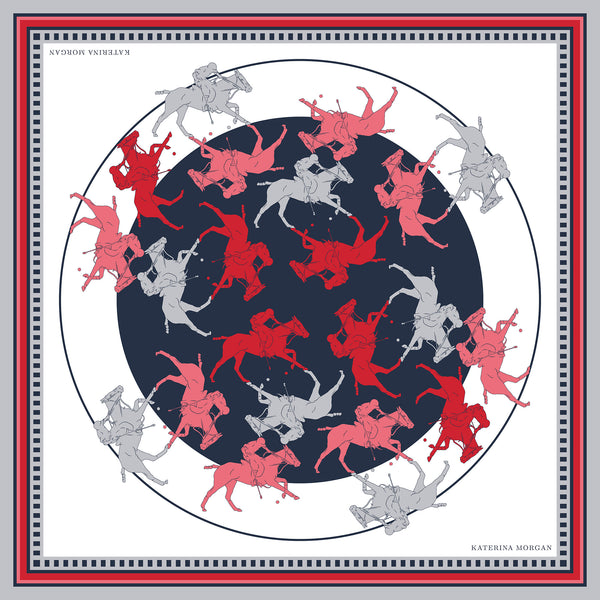 Red, navy and white polo silk scarf
